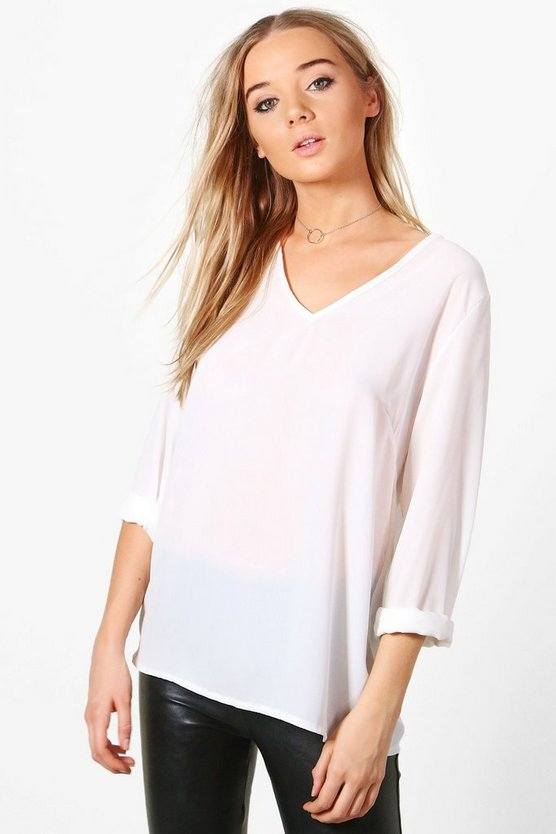 Hollie Plunge Collar Blouse