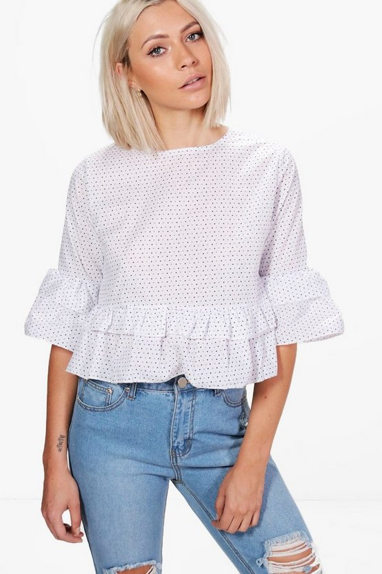 Madison Spot Ruffle Tiered Top