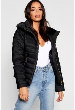 Womens Black Quilted Jacket