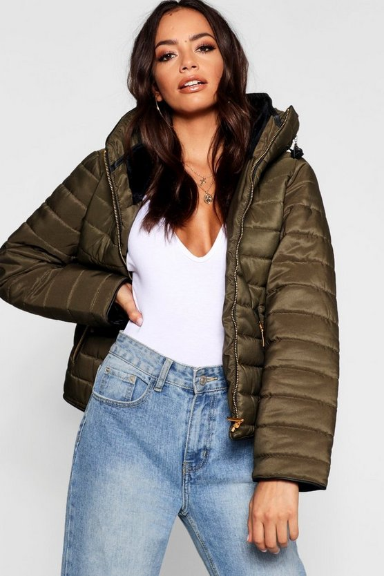 Womens Khaki Quilted Jacket