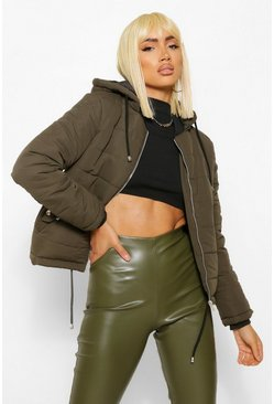 Womens Khaki Hooded Padded Jacket
