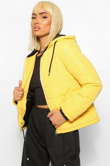 Womens Mustard Hooded Padded Jacket