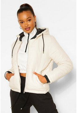 Nude Hooded Padded Jacket