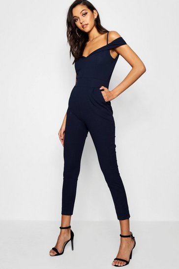 Womens Navy Tailored Cold Shoulder Jumpsuit