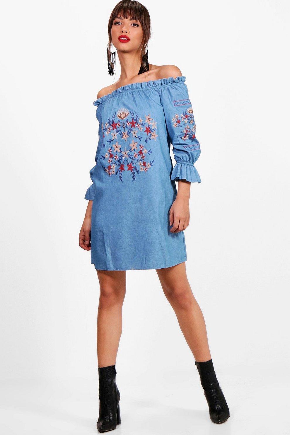 9d34532389 Off The Shoulder Embroidery Denim Dress