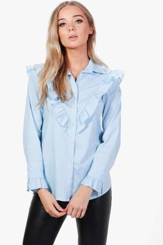 Elise Ruffle Yoke and Cuff Shirt