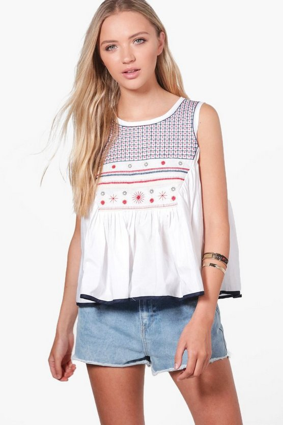 Maddison Boutique Embellished Poplin Swing Top