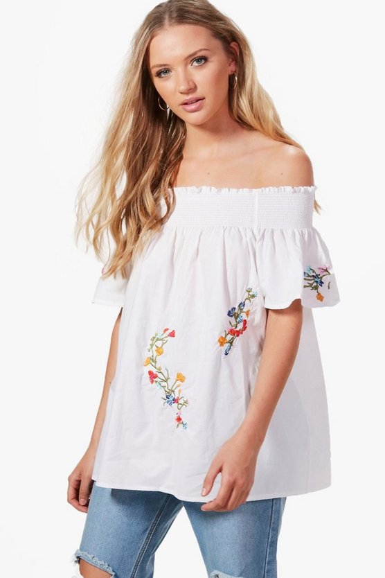Molly Floral Embroidered Off The Shoulder Cotton Top
