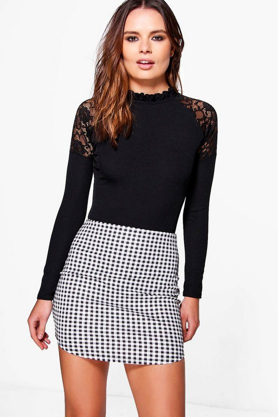 Arianna Curved Hem Gingham Check Mini Skirt