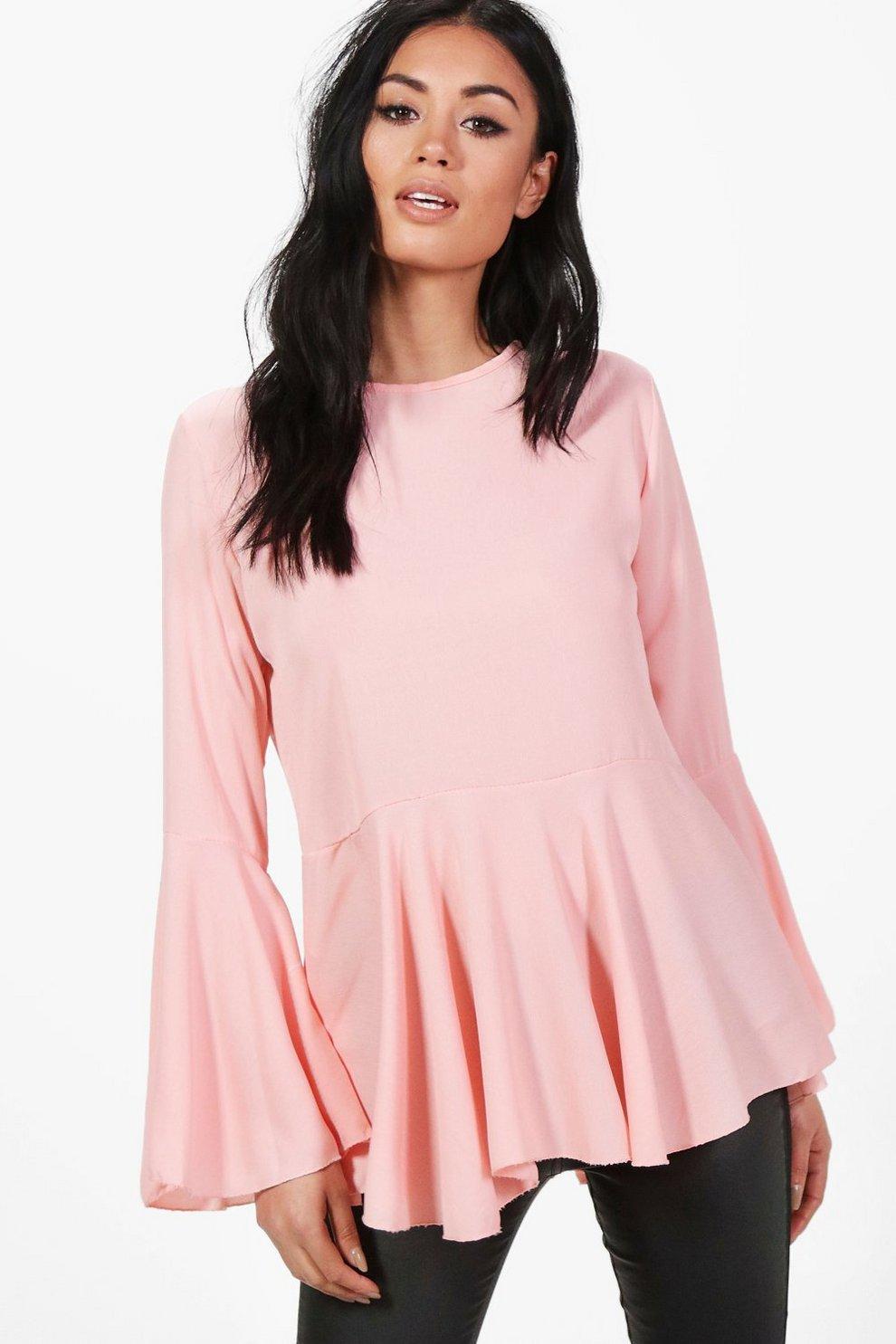 69e047f4252 Womens Blush Lauren Wide Sleeve Blouse