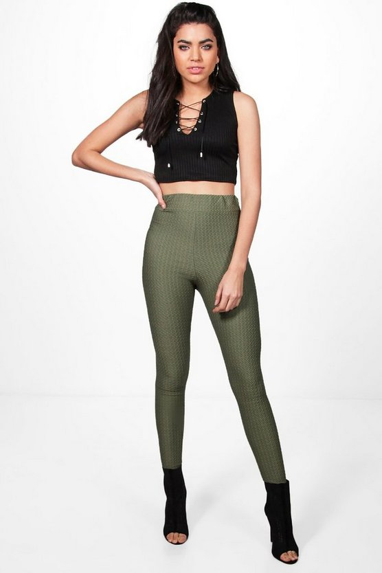 Saffron Textured Stretch Highwaist Leggings