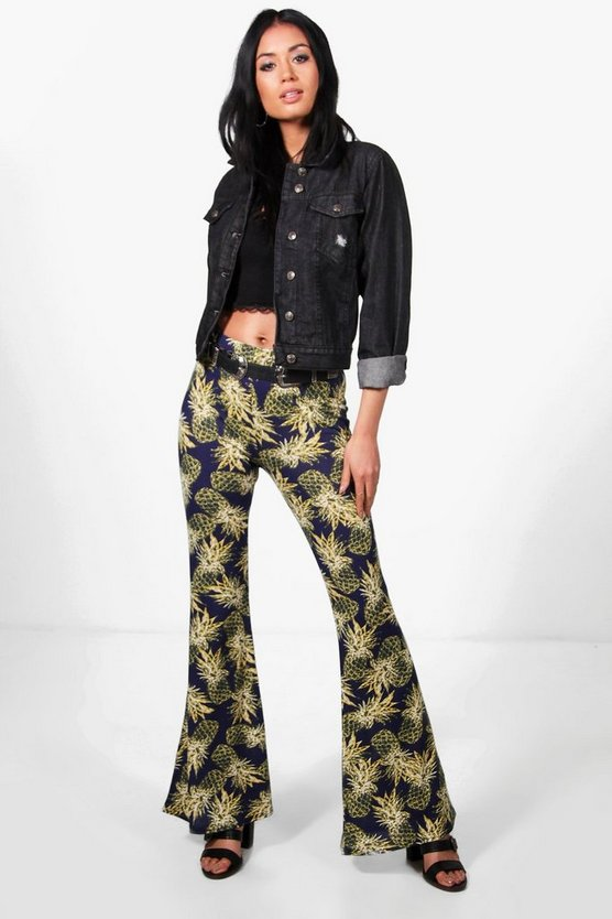 Mia Pineapple Print Festival Flared Trousers