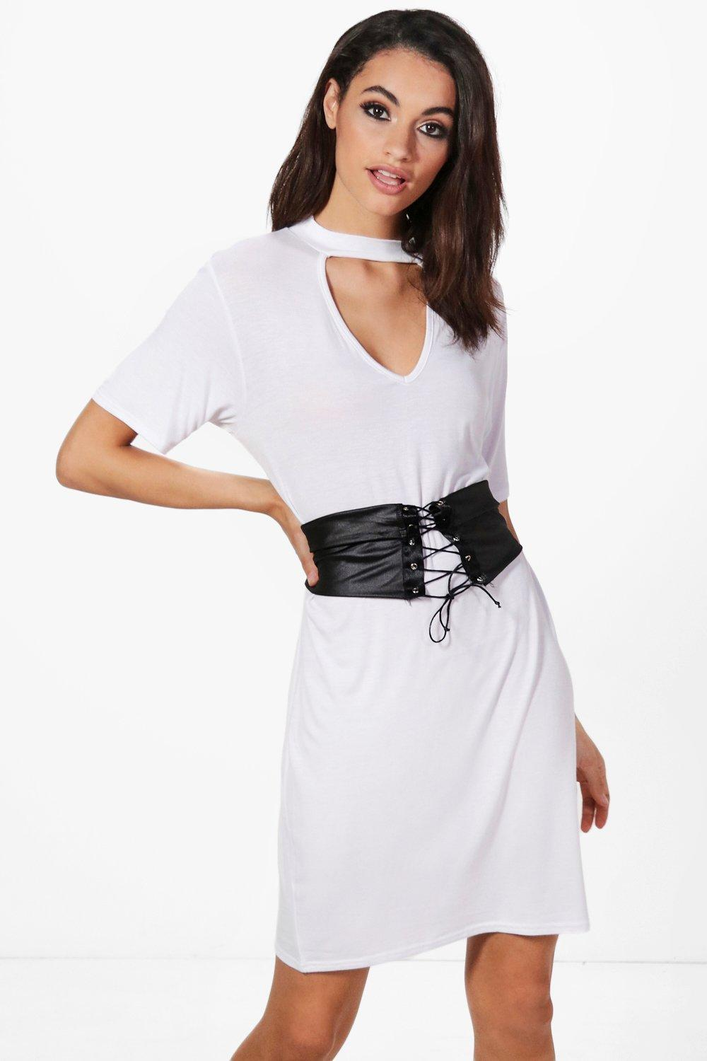 d2643e1079df Womens Hilary Choker Corset Belt 2 in 1 T-Shirt Dress. Hover to zoom