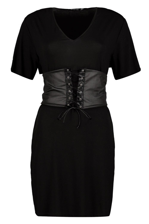 79796ccdce84f Boohoo Womens Elyse Corset Belt 2 in 1 V Neck T-Shirt Dress | eBay