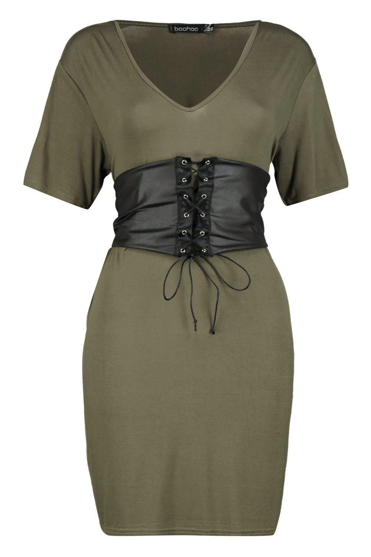 a9e068672c2 Boohoo Womens Elyse Corset Belt 2 in 1 V Neck T-Shirt Dress