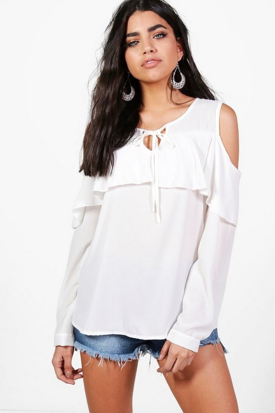 Laura Cold Shoulder Frill Blouse