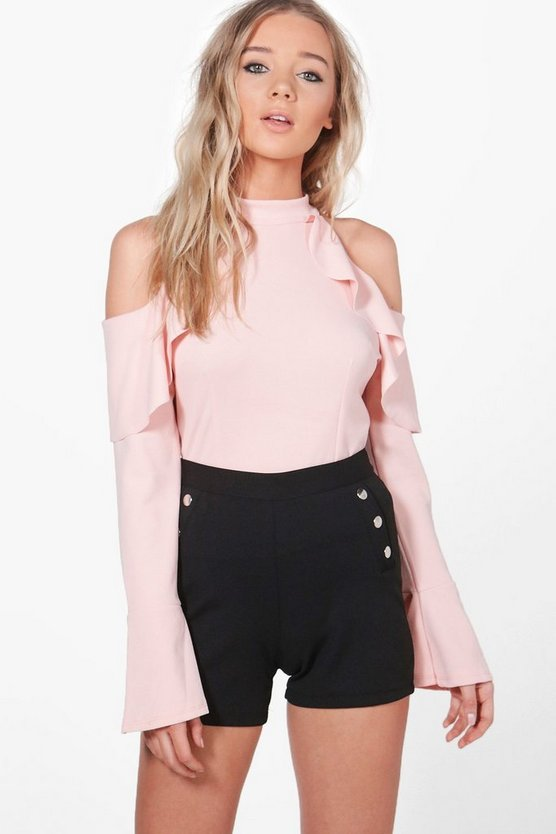 Julia Frill Detail Cold Shoulder Top