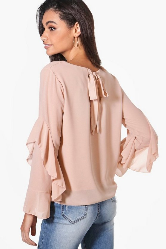 Hollie Tie Back Ruffle Woven Top