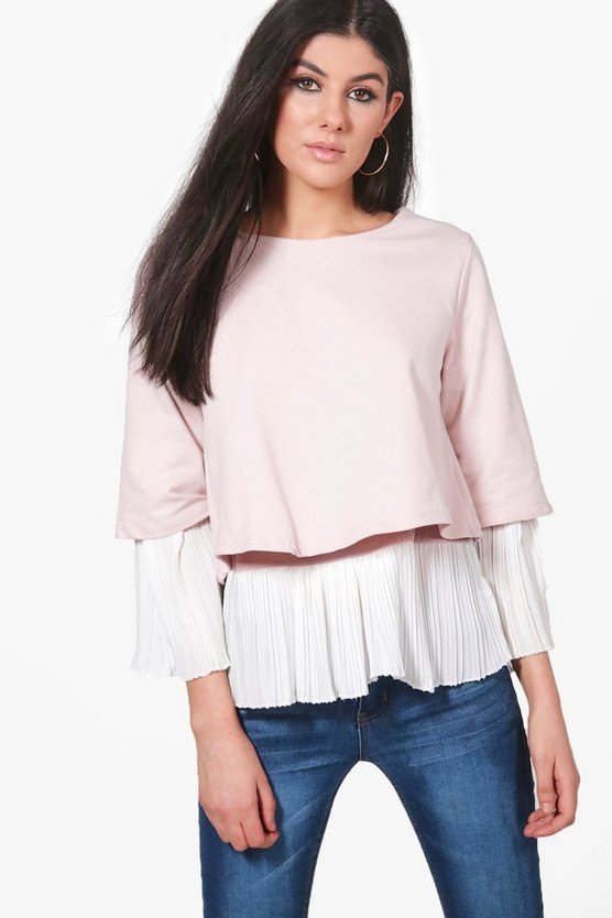 Womens Nude Paige Pleated Panel Blouse