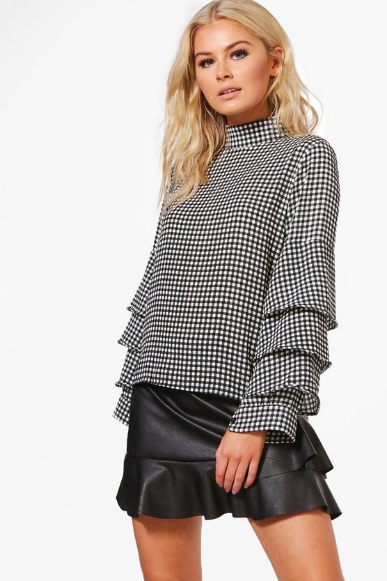 Anna Gingham Ruffle Tailored Blouse