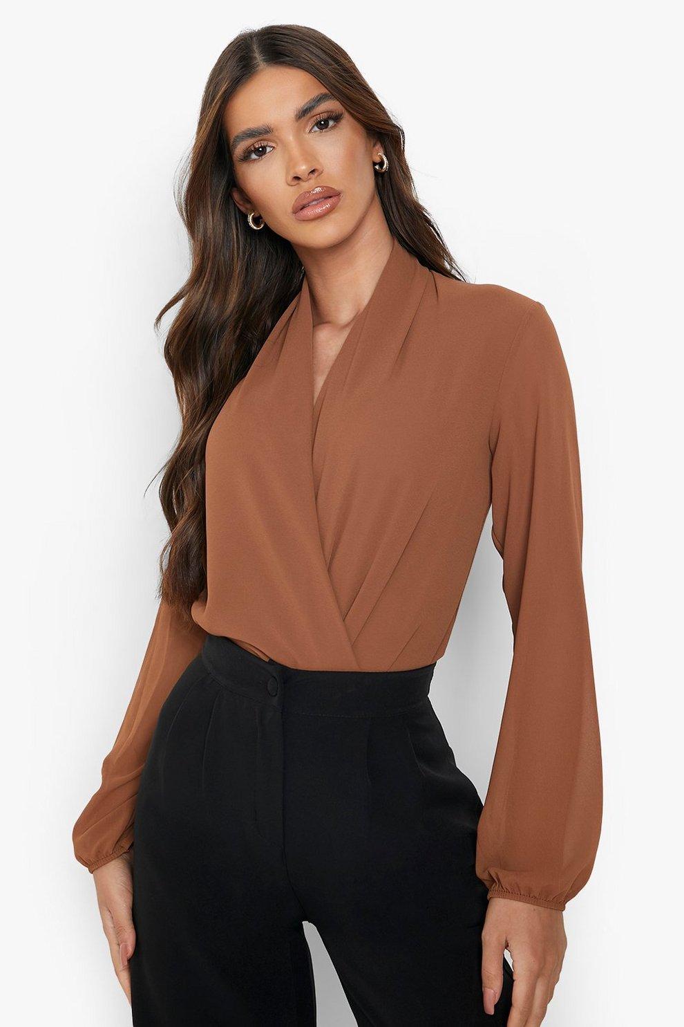0b7a423fa0565 Drape Chiffon Long Sleeve Woven Bodysuit | Boohoo