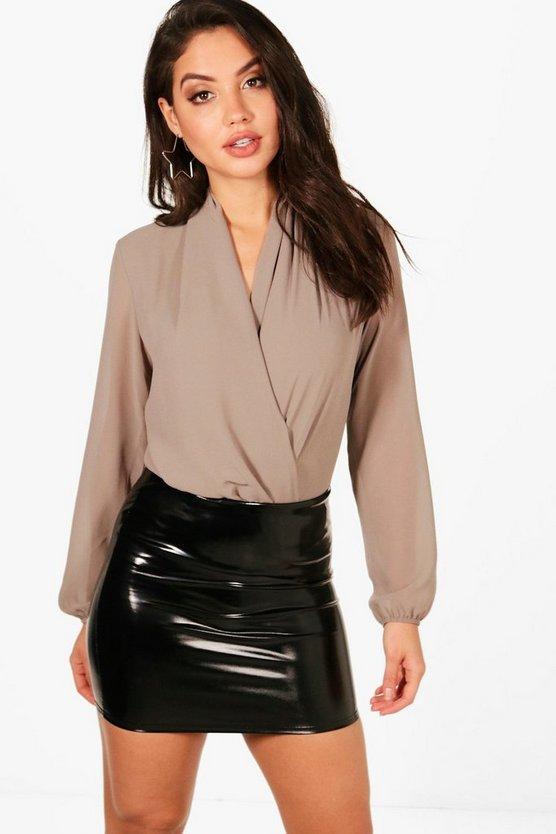 Drape Chiffon Long Sleeve Woven Bodysuit