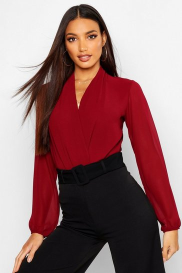 Womens Mulberry Drape Chiffon Long Sleeve Woven Bodysuit