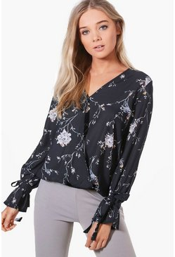 Jennifer Printed Wrap Over Blouse, Женские