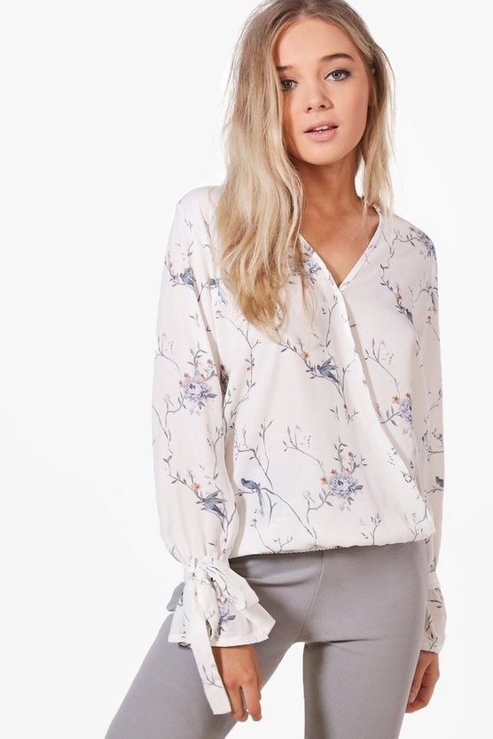 Jennifer Printed Wrap Over Blouse