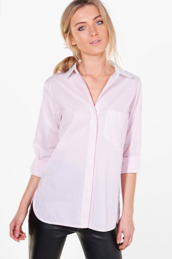 Womens Pink Jessica Contrast Collar Stripe Shirt