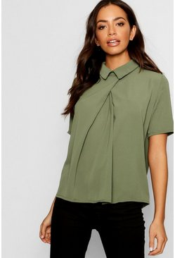Womens Khaki Short Sleeve Chiffon Blouse