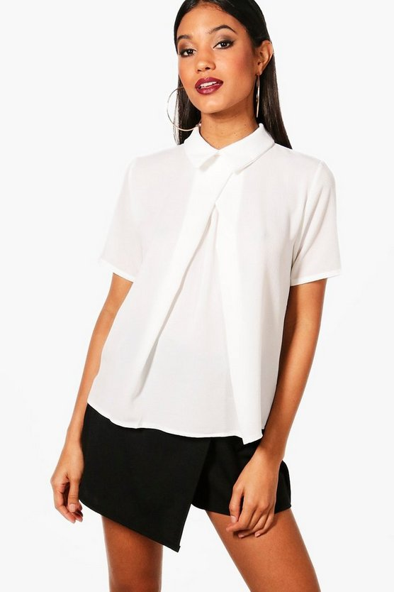 White Short Sleeve Chiffon Blouse