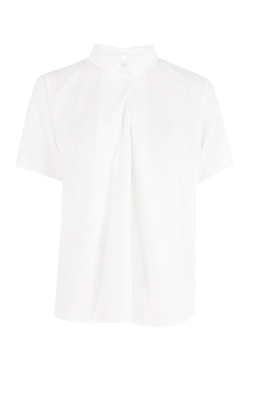 de chifón Blusa manga Blanco con corta wSda5qd