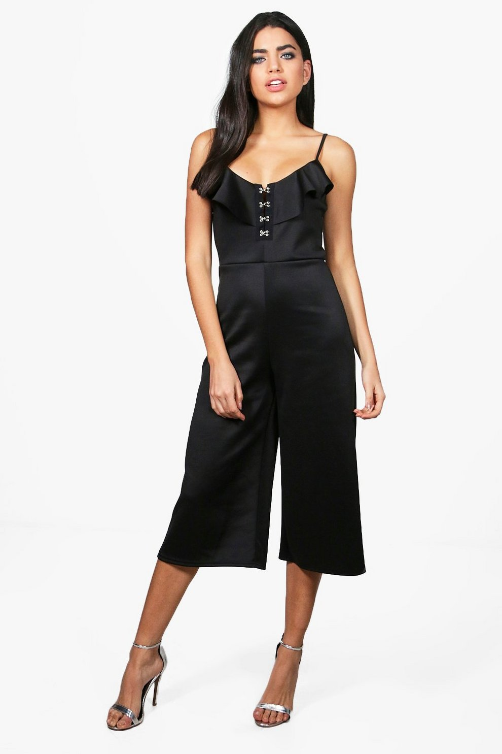 76c8723a509 Sara Hook and Eye Frill Culotte Jumpsuit