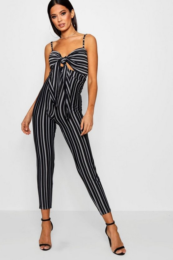 Striped Tie Front Skinny Leg Jumpsuit