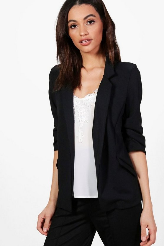 Kelly Button Ruched Sleeve Blazer