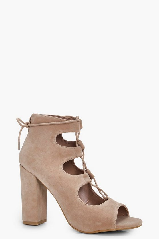 Womens Nude Ghillie Lace Up Block Heels