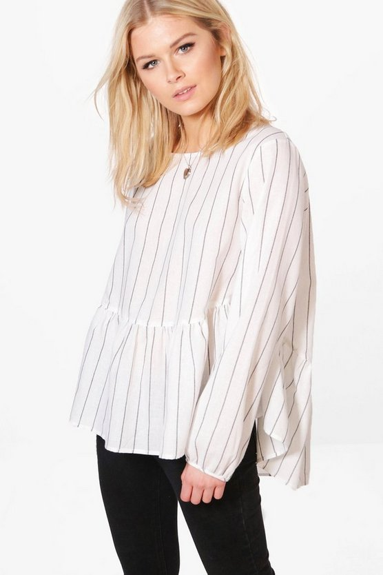 Evelyn Stripe Frill Hem Woven Blouse