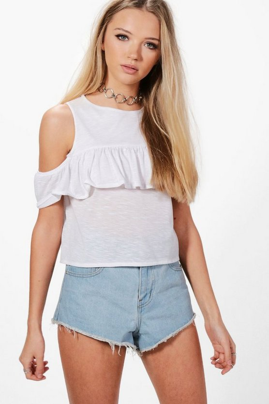 Anna Cold Shoulder Ruffle Top