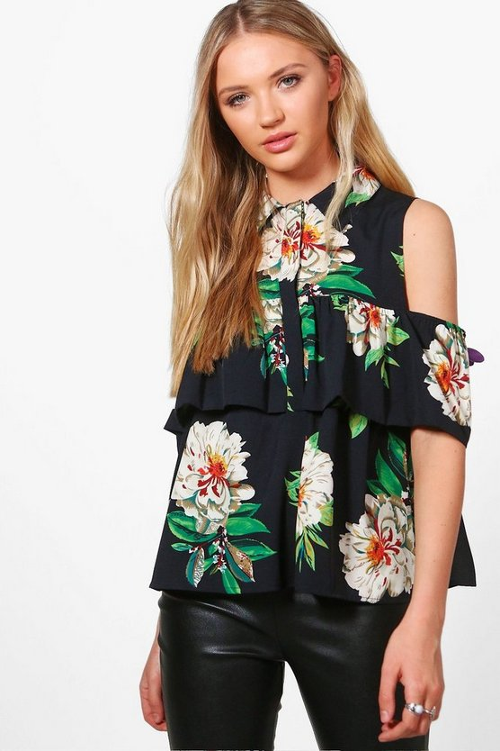 Harriet Cold Shoulder Ruffle Blouse
