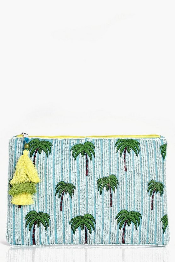 Hannah Palm Tree Beaded Clutch Bag