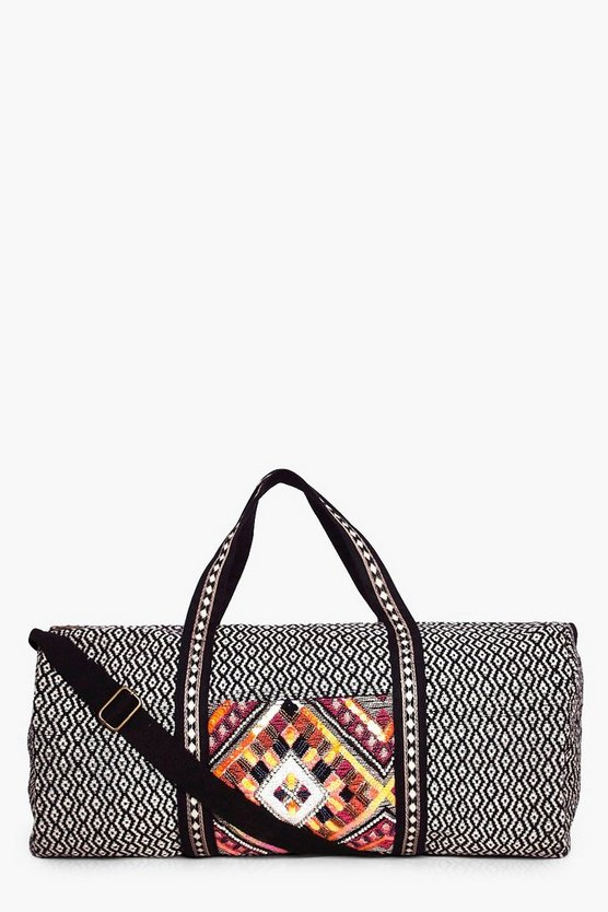 Evie Beaded Panel Aztec Weekend Holdall Bag