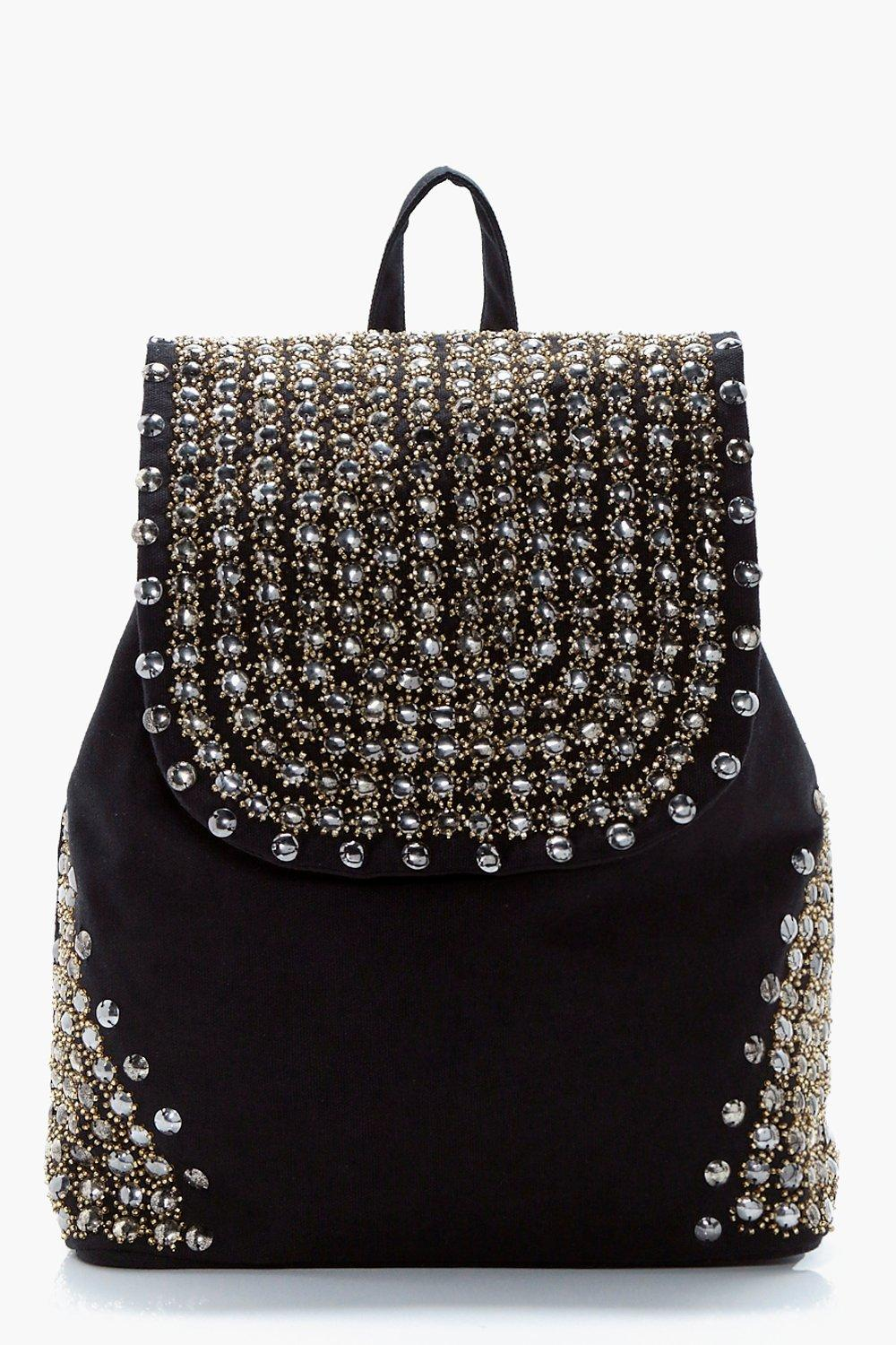 526183c3a3 Womens Black Studded Rucksack. Hover to zoom