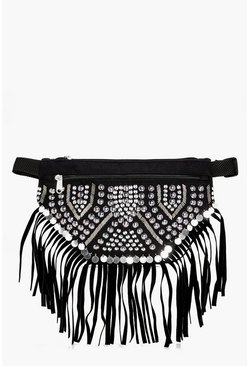 Womens Black Olivia Fringed Stud & Coin Bumbag