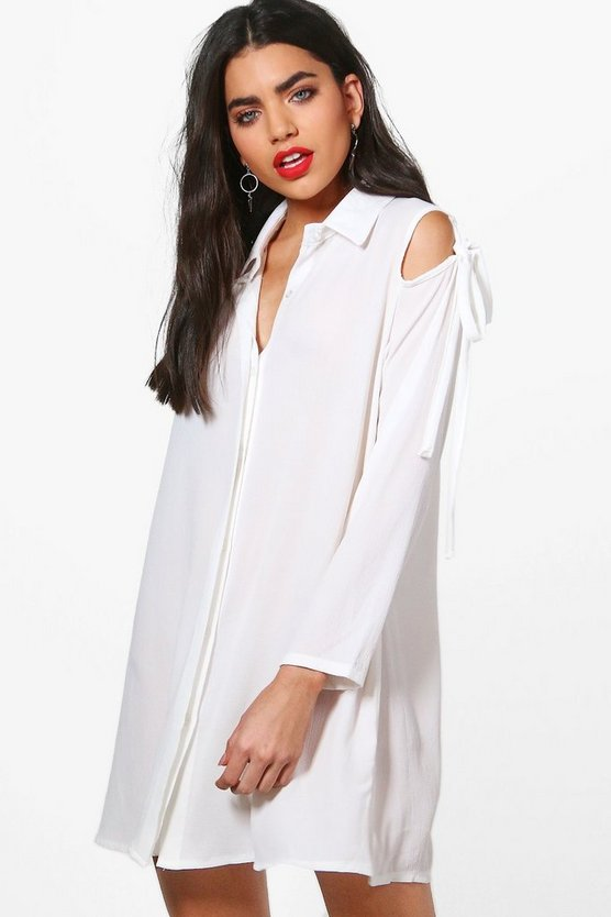 Ella Cold Shoulder Tie Detail Shirt Dress