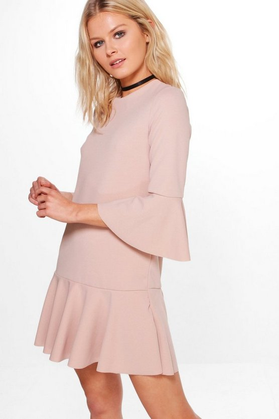 Fiona Flare Sleeve And Hem Tailored Dress