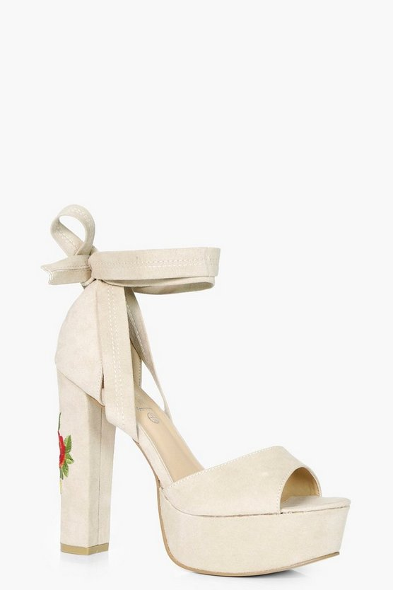 Alice Embroidered Platform Heel With Wrap Strap