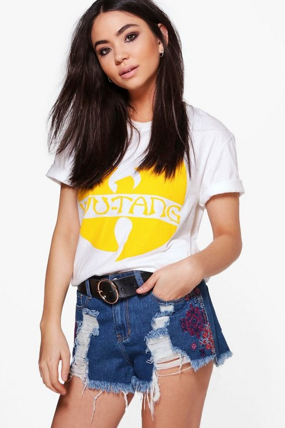 Lourdes Embroidered Ripped Denim Hot Pants