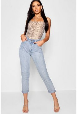 Womens Blue Light Wash Rip High Waist Mom Jeans