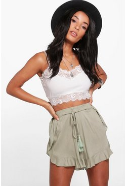 Womens Khaki Tassel Trim Shorts